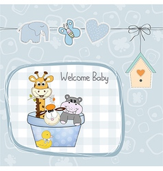 baby boy shower card with toys vector image