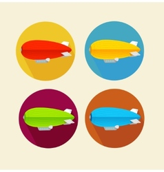 Red dirigible balloon flat icon set vector