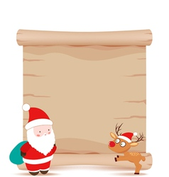 Santa claus and deer parchment sign vector