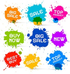 Colorful icons - sale blots - splashes labels vector