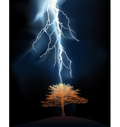 Lightning strikes tree vector