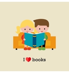 Kids sitting on sofa and reading a book vector