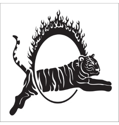Tribal tiger jump outline vector