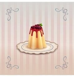 Sweet pudding with currants on vintage plate vector