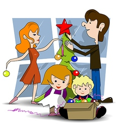 Decorating christmas tree vector