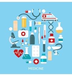Flat medicine round poster vector