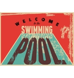 Swimming typographic vintage grunge style poster vector