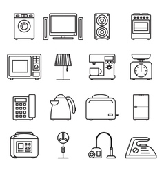 Thin line home appliances icons household outline vector