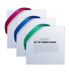 Set of cards with realistic rubber bands vector