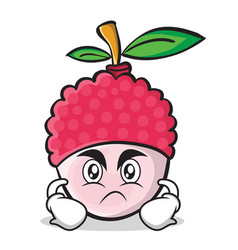 Angry face lychee cartoon character style vector