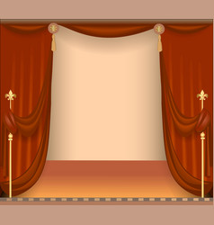 background with theatre stage with red curtains vector image vector image
