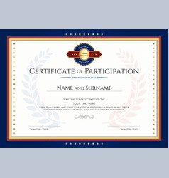 certificate of participation template with laurel vector image