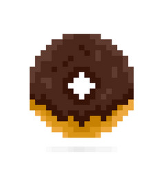 Chocolate donut in pixel style dessert and sweets vector