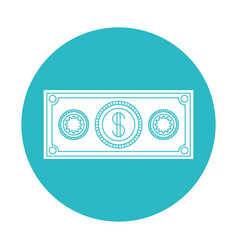 Circle light blue with money bill icon vector