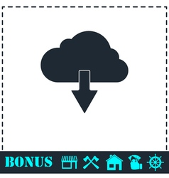 Cloud download icon flat vector