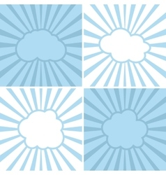 Clouds flat icons on striped background vector image vector image