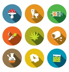 Color drugs flat icon collection vector