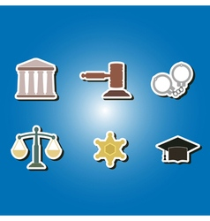 Color icons with symbols of law and courts vector
