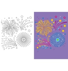 Coloring Book Of Christmas Fireworks vector image