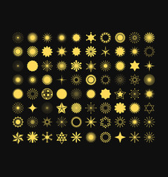 complete set of 80 golden stars signs and symbols vector image vector image