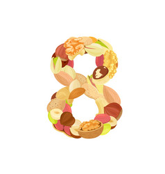 delicious number made from different nuts eight vector image