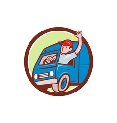 Delivery Man Waving Driving Van Circle Cartoon vector image vector image