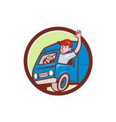 Delivery man waving driving van circle cartoon vector