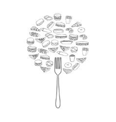 Doodle foods tree vector