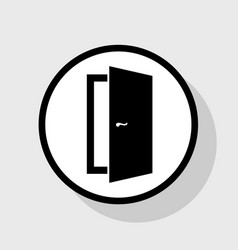 Door sign flat black icon in vector