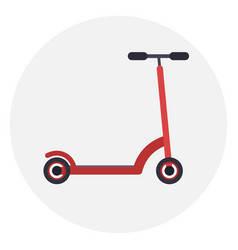 flat red kick scooter icon vector image vector image