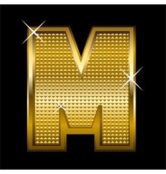 Golden font type letter m vector