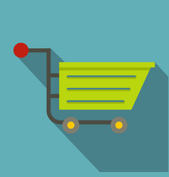 Green sale shopping cart icon flat style vector