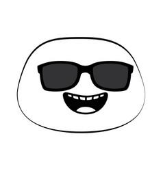 Happy emoji face with sunglasses vector