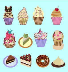 icons set of Cupcakes Dessert- vector image vector image