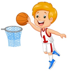 Kid playing basket vector
