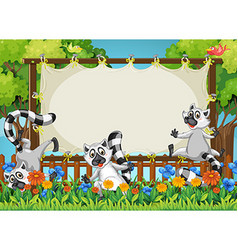 Lemurs and wooden frame template vector