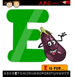 letter e with eggplant cartoon vector image