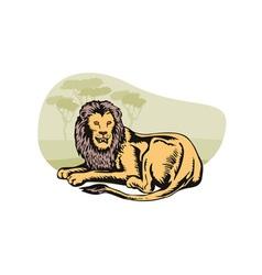 Lion big cat retro vector