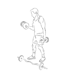 Man with a dumbbell and barbell vector image