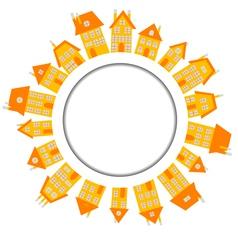 Orange village with houses around wound banner vector image