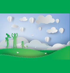 paper art of green happy family having fun vector image