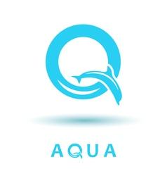 Q letter sign dolphin logo vector