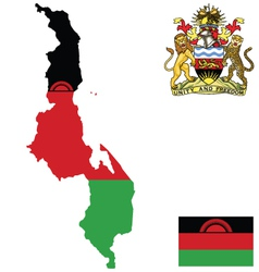 Republic of malawi flag vector