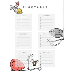 School schedules Timetable with a funny snail vector image