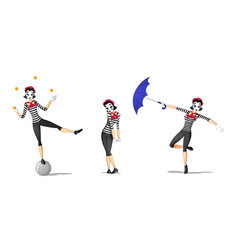 set 1 of girl mime performances vector image vector image