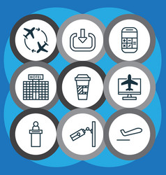 Set of 9 airport icons includes video vector