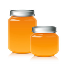 Set of glass jar for honey jam jelly or baby vector