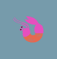 Shrimp in hatching style vector