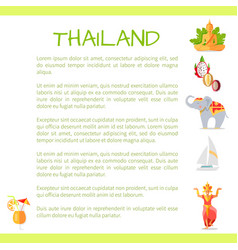 thailand touristic concept with sample text vector image vector image