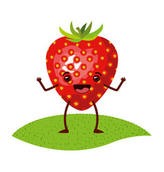 White background with realistic strawberry fruit vector
